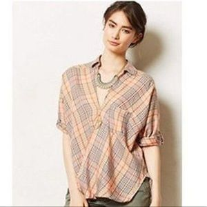Anthro Holding Horses Plaid blouse